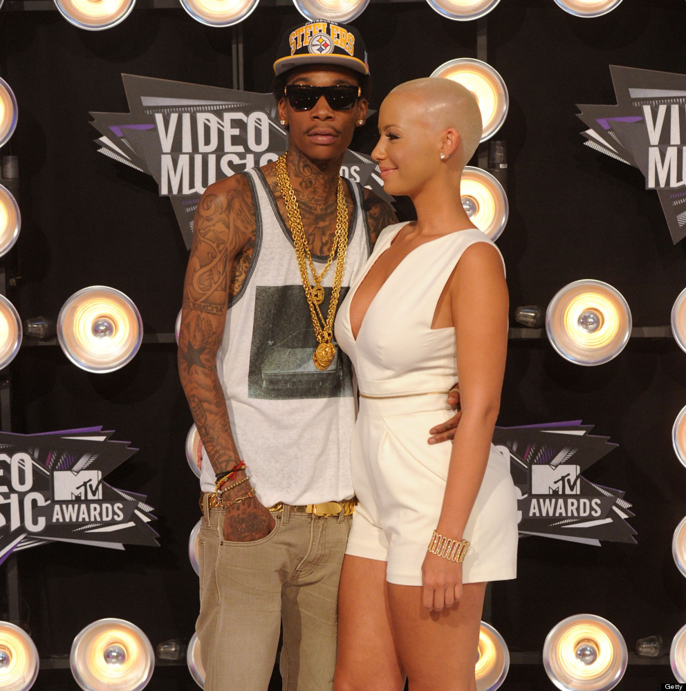 LOS ANGELES, CA - AUGUST 28:  Rapper Wiz Khalifa and model Amber Rose arrive at the 2011 MTV Video Music Awards at Nokia Thea