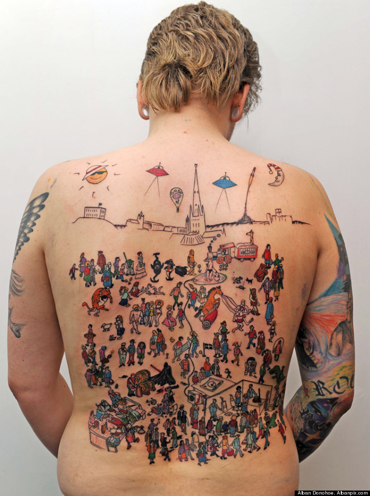 Where's Waldo? He's somewhere on John Mosley's back. The Norwich resident recently got this elaborate tattoo inspired by the