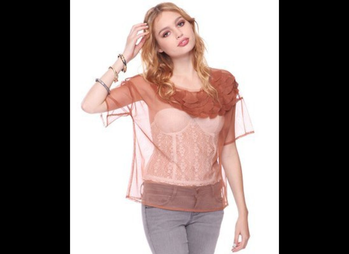 Save airport security some time by wearing this see-through scalloped top to the terminal. It'll make it that much easier for