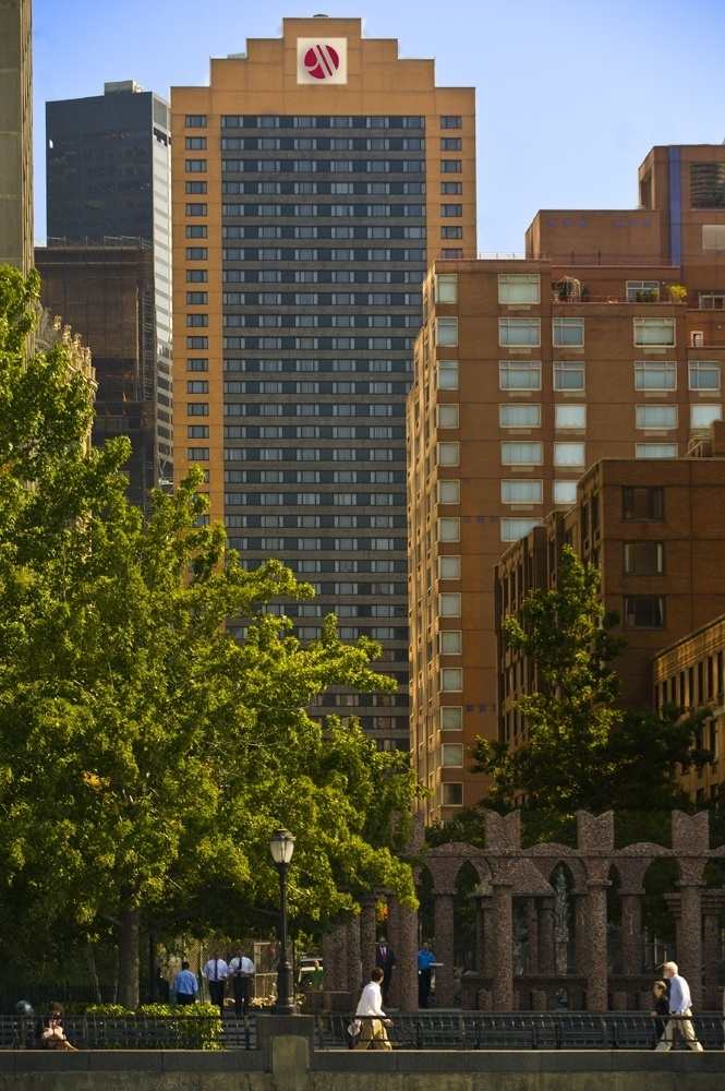 "The 497-room <a href=""http://www.marriott.com/hotels/travel/nycws-new-york-marriott-downtown/"" target=""_hplink"">New York Marr"