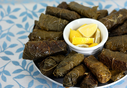 """<strong>Get the <a href=""""http://ellysaysopa.com/2010/12/21/dolmades-for-a-virtual-holiday-party/"""">Dolmades recipe from Elly S"""