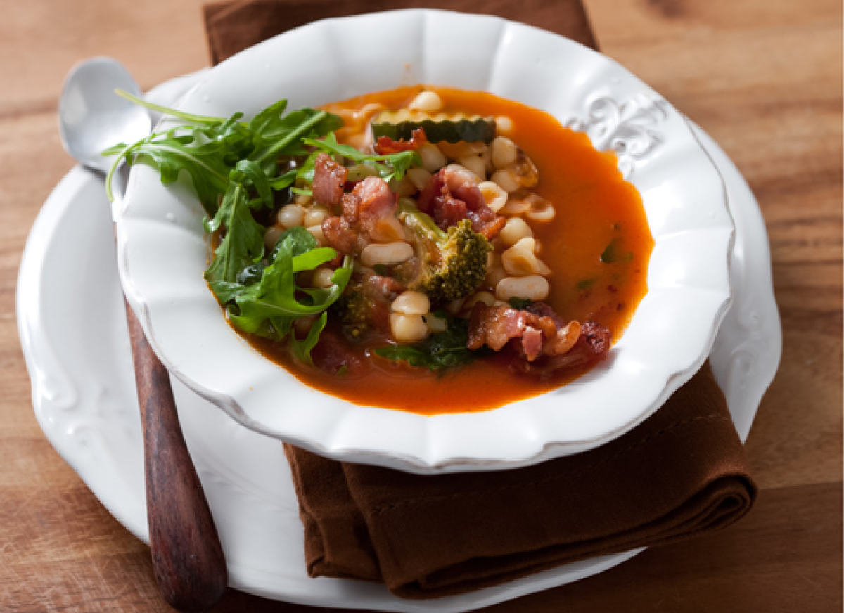 This recipe uses frozen mixed vegetables, which means you can make this minestrone any time of the year. Add shell pasta and