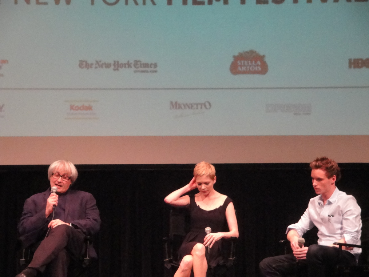 "Simon Curtis, Michelle Williams and Eddie Redmayne at the press conference following the world premiere of ""My Week with Mari"
