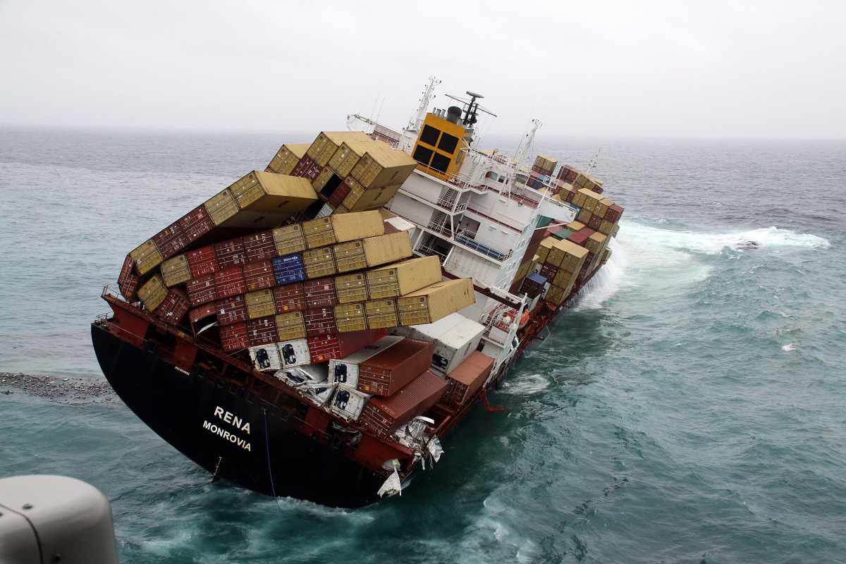 TAURANGA, NEW ZEALAND - OCTOBER 12: In this handout provided by Maritime New Zealand, Fly-over shots of stranded cargo vessel