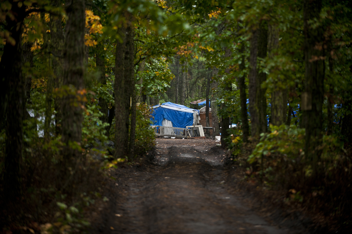 "Residents of ""Tent City"" have built a town on a strip of wooded public land just outside Lakewood New Jersey and are now in a"