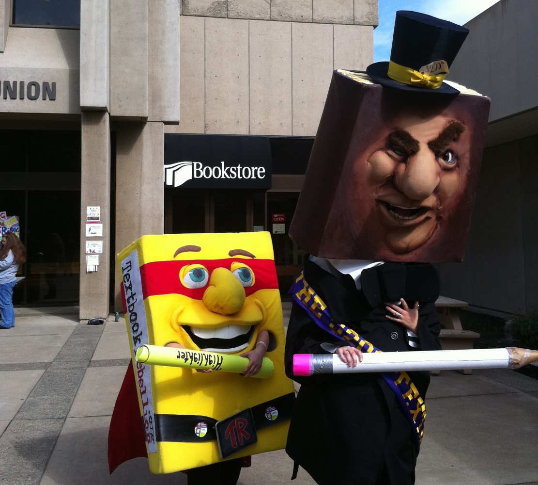 "'Mr. $200 Textbook' (right) is the mascot for <a href=""http://www.studentpirgs.org/textbooks/campaign"" target=""_hplink"">outra"