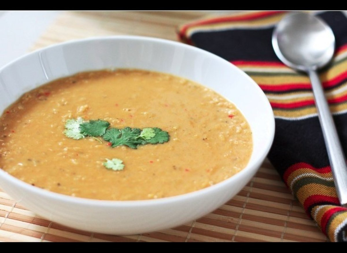 Coconut milk adds creaminess to this beautiful soup. Although 'spiced,' this dish is not particularly spicy – even with the a