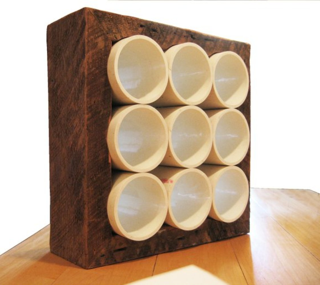 CustomMade Curator: Recycled PVC And Wood Wine Rack | HuffPost