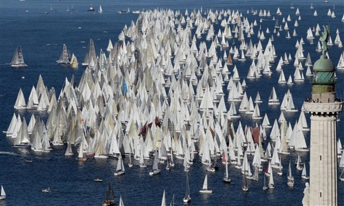 """A view of the sail boats taking part in the 43nd edition of the traditional """"Barcolana"""" regatta in the gulf of Trieste, north"""