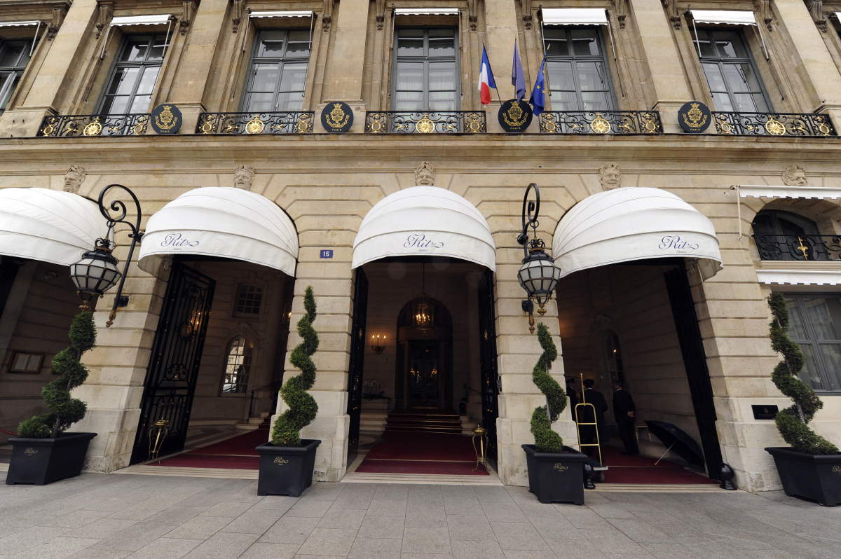 A picture taken on October 18, 2011 in Paris shows the entrance of the Ritz hotel. The luxury hotel, located on the Place Ven