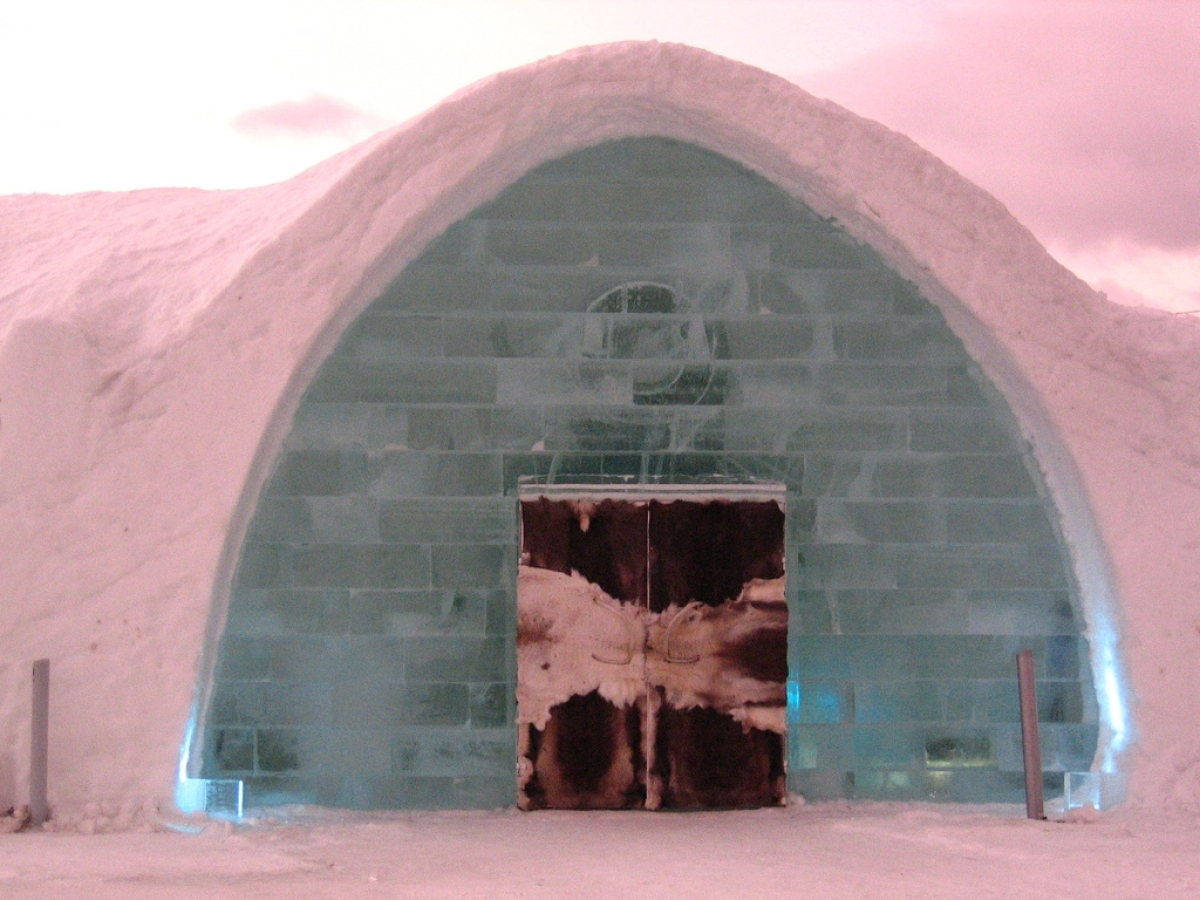 Entrance to the Ice Hotel in Jukkasjärvi in Northern Sweden.