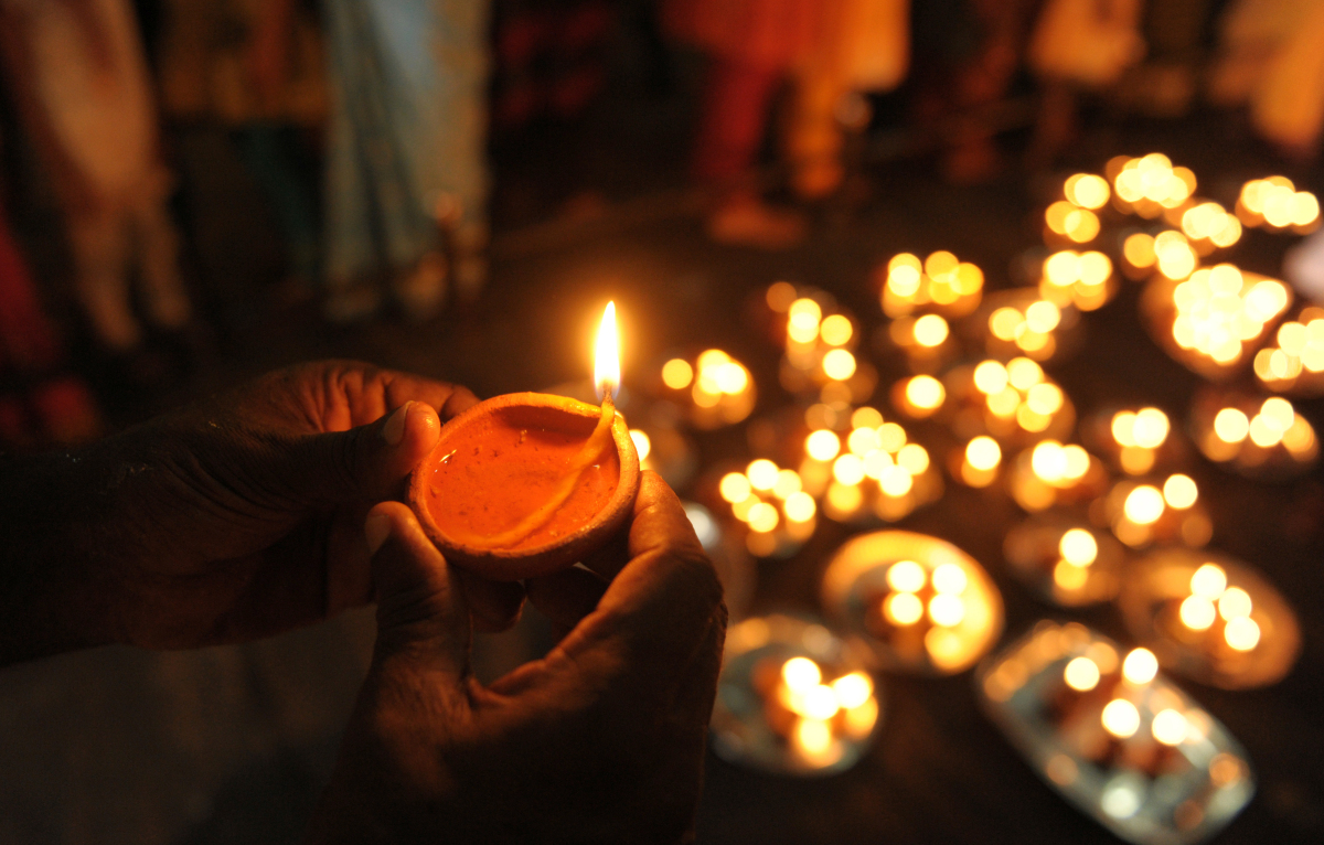 The word Diwali, comes from the Sankrit <em>Deepavali</em>, meaning rows of light. Lighting diyas or clay lamps is an importa