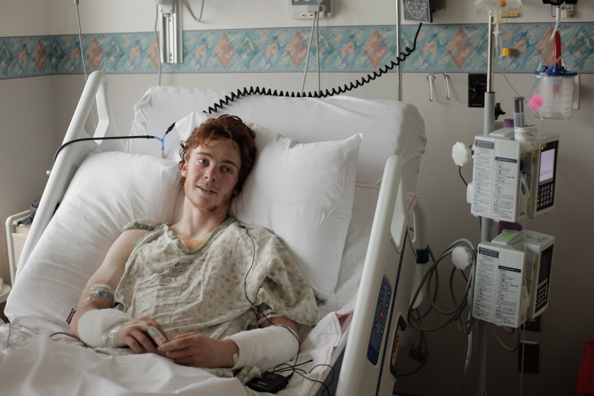 <em>From AP:</em> Samuel Gottsegen, 17, recounts his experiences as one of the victims of a bear attack that occurred Saturda