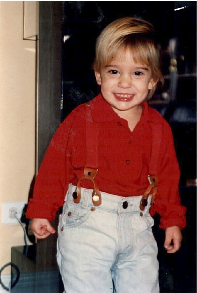 """Age 2, and already experimenting with accessories. How cute are my suspenders?!"""