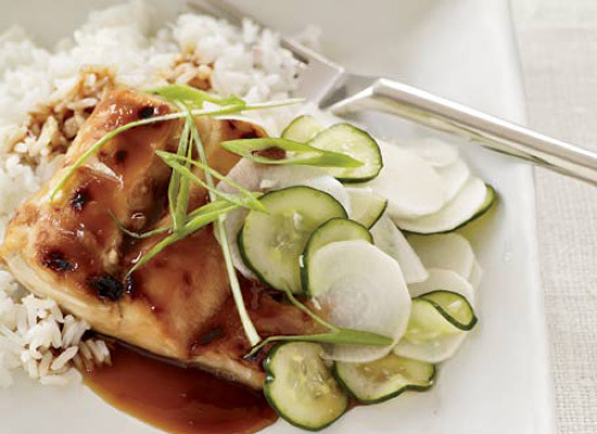 This recipe is a fairly classic take on teriyaki -- broiled or grilled slices of marinated meat or fish. The small amount of