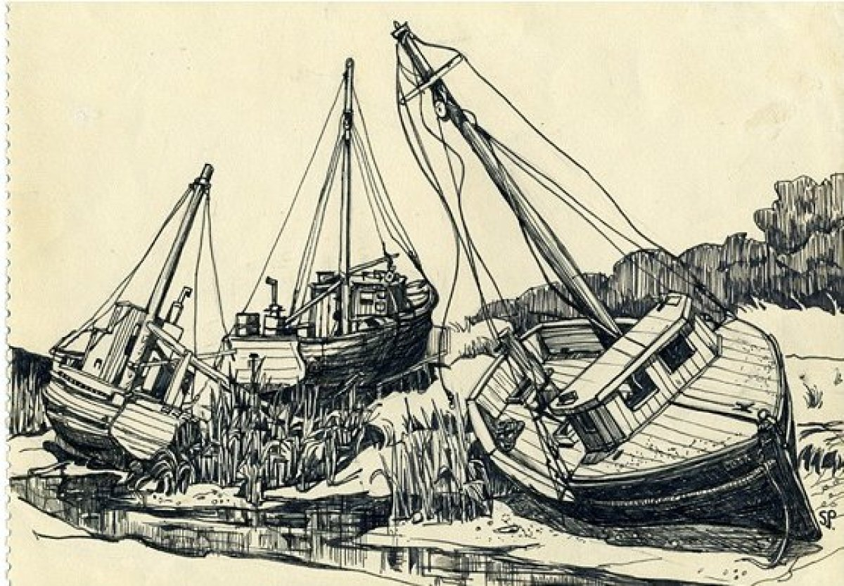 Boat of Rock Harbour, Cap Cod. Image credit: Sylvia Plath. Courtesy Mayor Gallery. All images via Flavorpill.