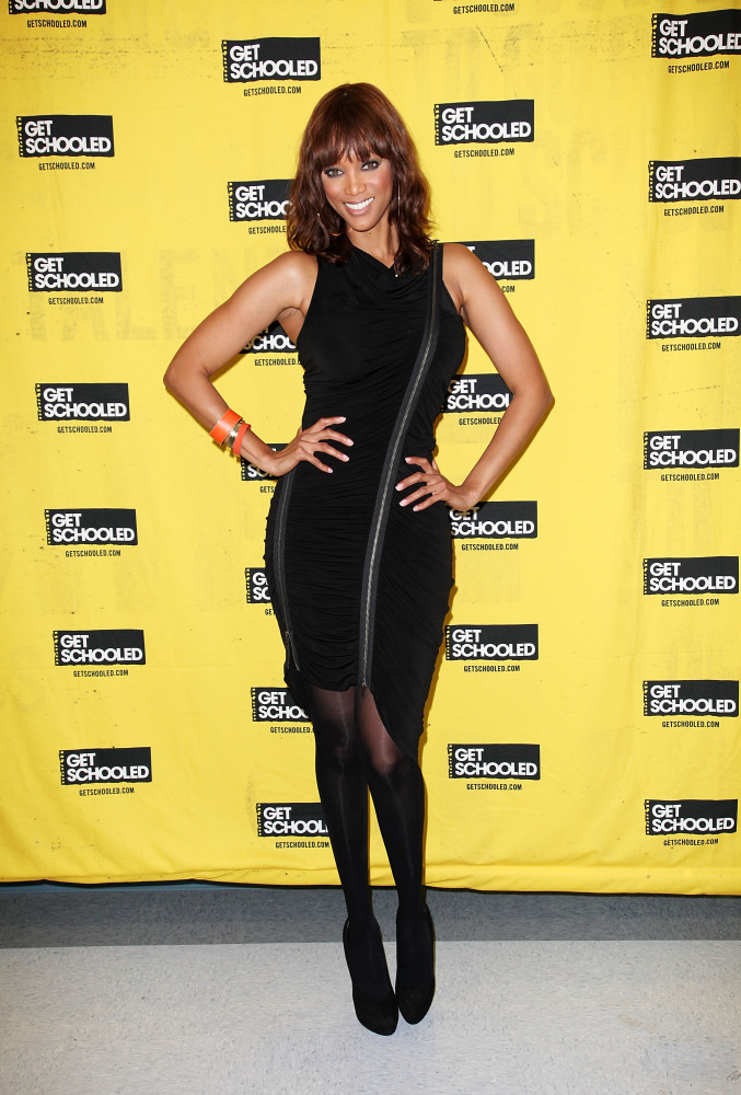"Tyra Banks attends The ""Get Schooled"" foundation surprise 400 students with pep rally at Mary McLeod Bethune Middle School on"