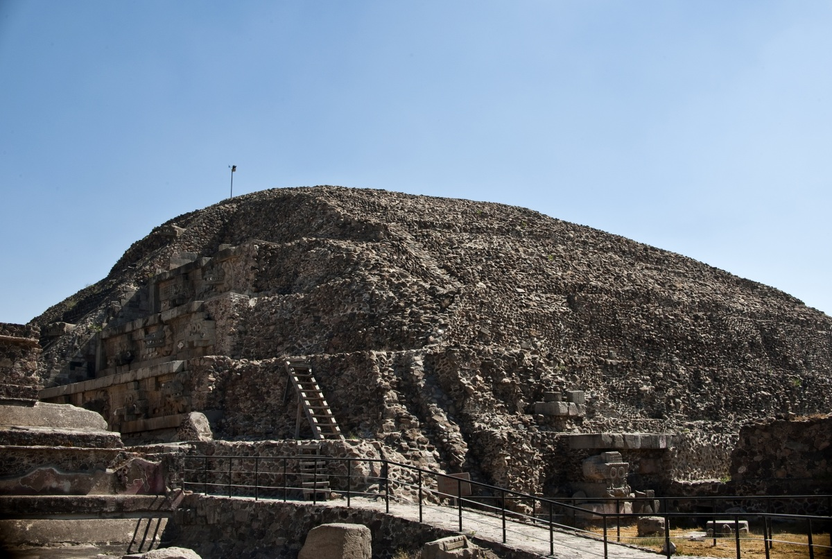 View of the temple of the Feathered Serpent at the archaeological site of Teotihuacan, 45 km northeast of Mexico City, on Mar