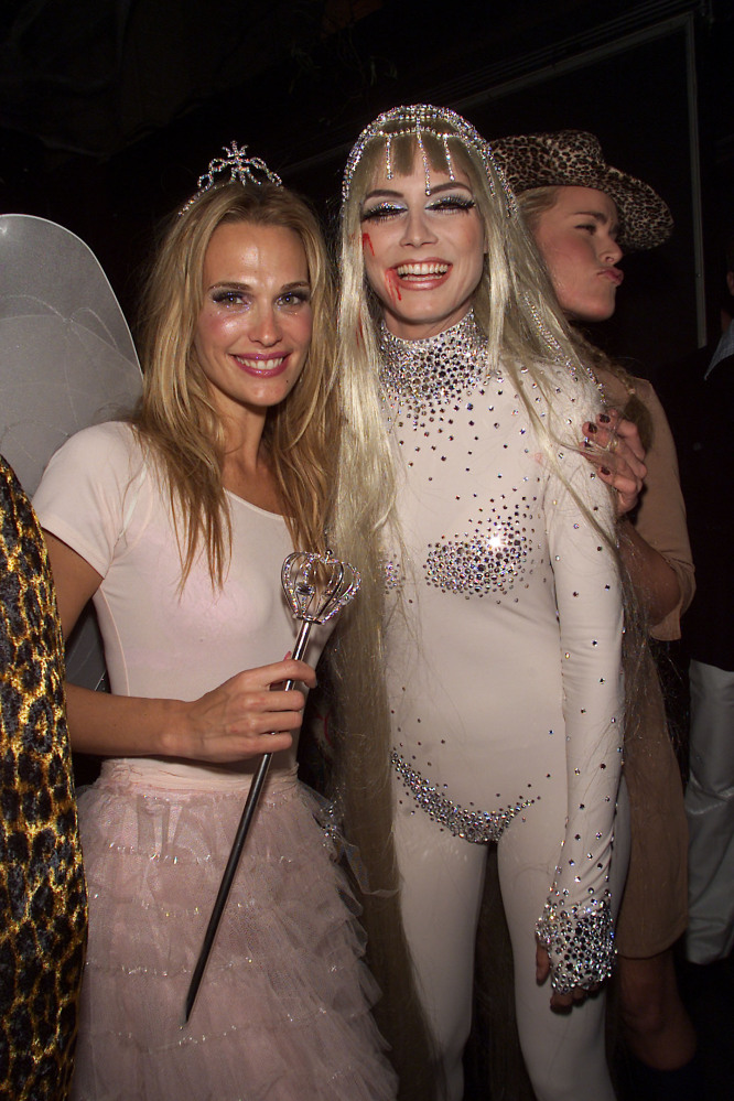 Molly Sims and Heidi Klum at Heidi's annual party in 2001. Sims went as a fairy and Klum, as Lady Godiva, rode in on horsebac