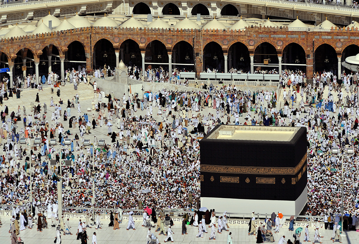 Muslim piligrims walk around the holy Kaaba inside Mecca's Grand Mosque on Oct. 31, 2011,  as more than 1.5 million Muslims h