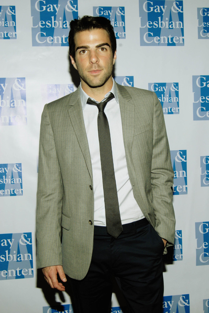 A pre-coming out Zachary Quinto at the 2009 gala, where he presented the Center's Board of Directors Award to Clinton Leupp (