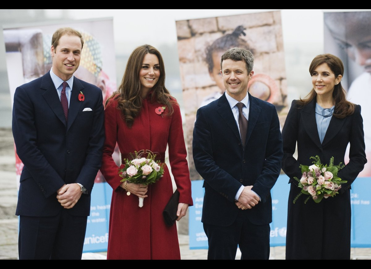 Prince William (L) and Catherine (2nd-L), the Duke and Duchess of Cambridge, accompanied by Crown Princess Mary (R) and Crown
