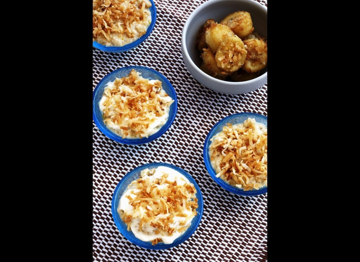 An extravagant pudding recipe that is easy-to-make. Banana and coconut two go together like spaghetti and meatballs, and it m