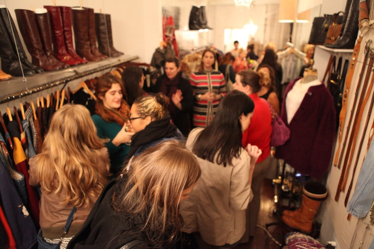 The storefront was packed by 8pm - stylish ladies were mingling shoulder to shoulder between racks!