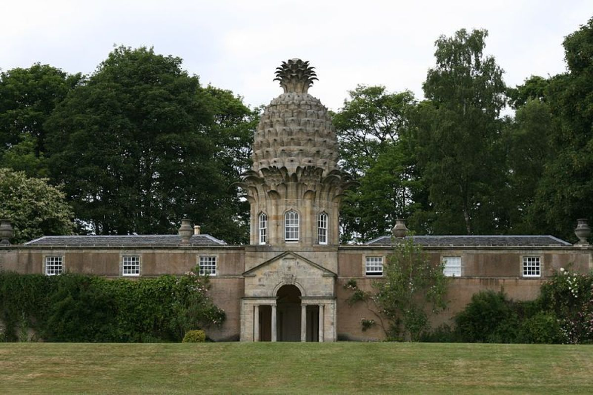 "The Dunmore Pineapple, built in 1761, is said to ""rank as the most bizarre building in Scotland."" The building, home to the E"