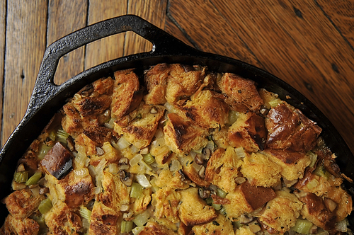 "<strong>Get the <a href=""http://food52.com/recipes/1452-what-we-call-stuffing-challah-mushroom-and-celery"" target=""_blank"">Ch"