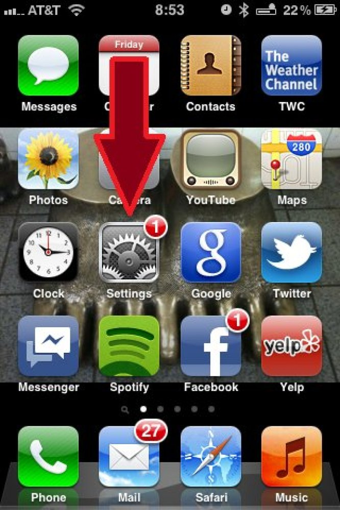 "First, touch the ""Settings"" icon on your home screen."