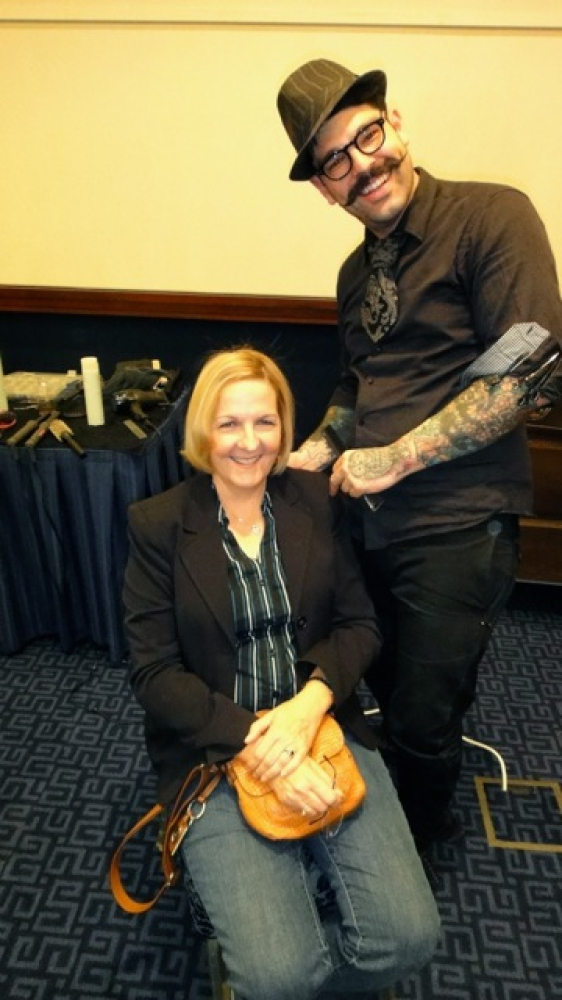 "Nov. 9: Caregiver Debbie Schulz with stylist the day before attending the Bob Woodruff Foundation's ""Stand Up For Heroes"" eve"