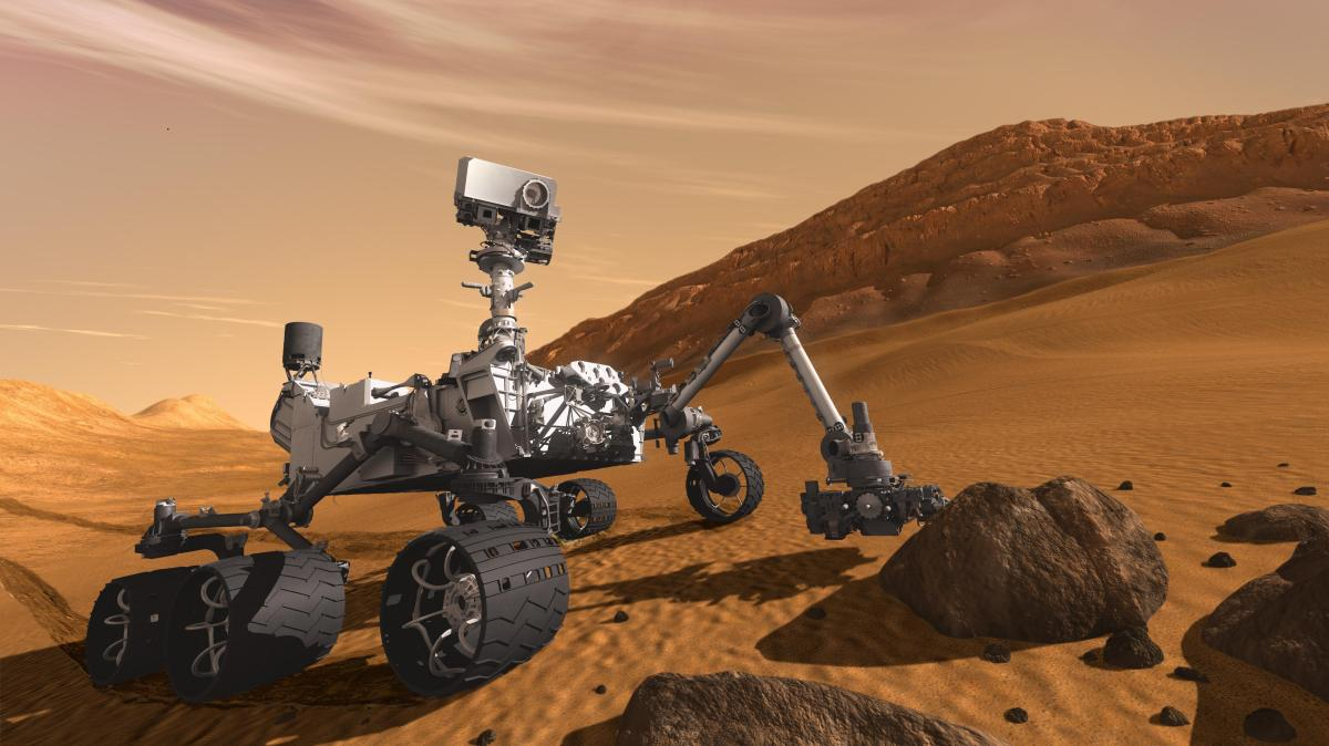 This artist's concept features NASA's Mars Science Laboratory Curiosity rover, a mobile robot for investigating Mars' past or