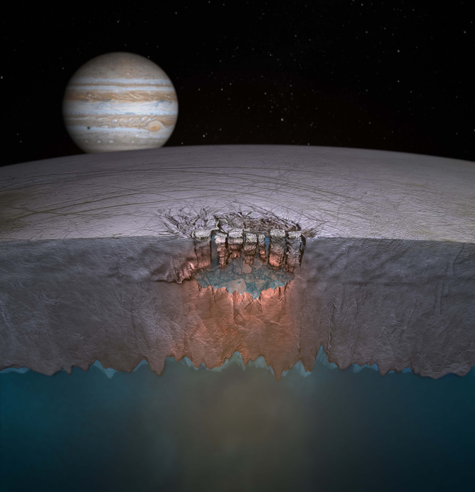Scientists speculate many more exist throughout the shallow regions of the moon's icy shell. (NASA)