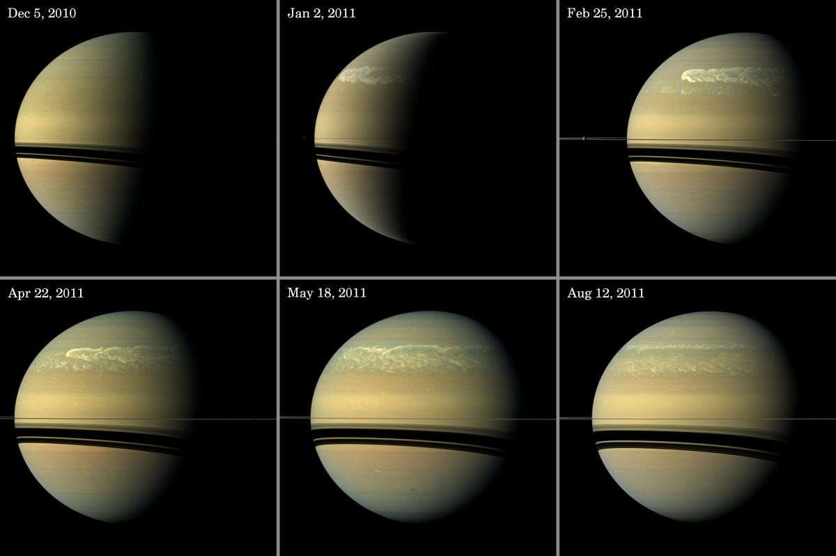 Chronicling Saturn's Northern Storm - This series of images from NASA's Cassini spacecraft shows the development of the large