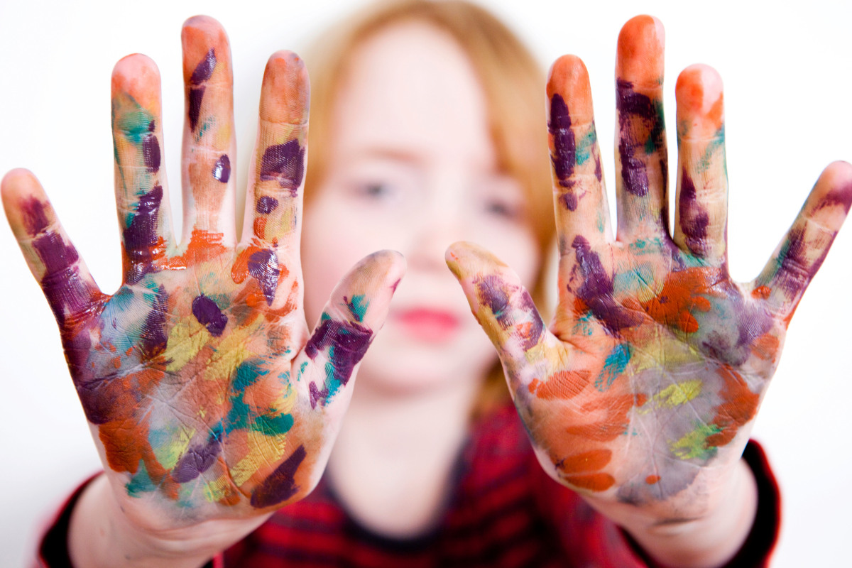 When your hands are covered in paint, sap or any other sticky substance that's hard to remove, try scrubbing them with olive