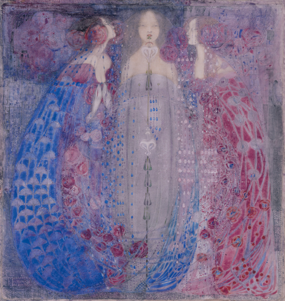 "<em>The Three Perfumes</em> by Margaret Macdonald Mackintosh is watercolor on velum. ""It has a very translucent quality to it"