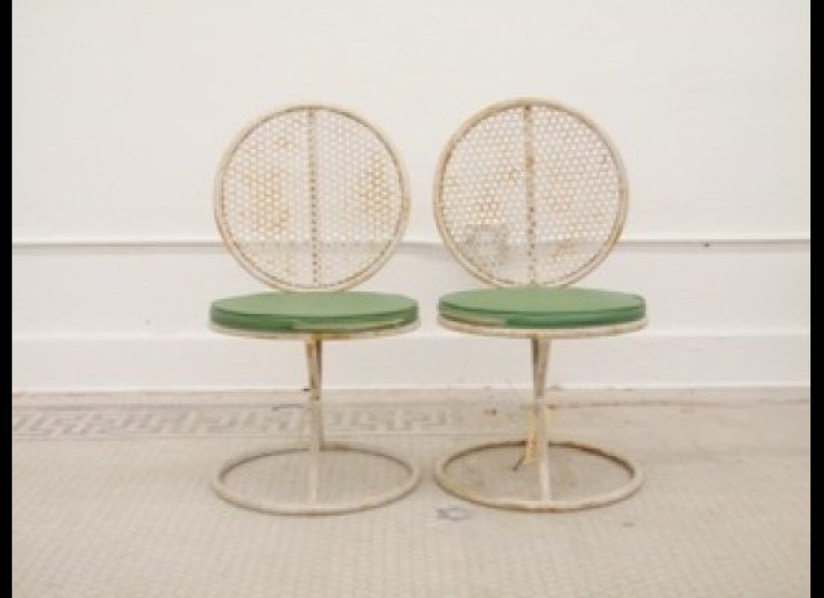 These vintage perforated chairs have stood the test of time in my warehouse. I love the symmetry of the design.