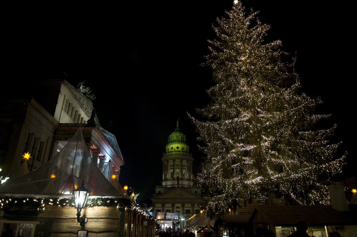 A Christmas tree stands at the Berlin's winter market at the Gendarmenmarkt November 21, 2011 during its official opening.