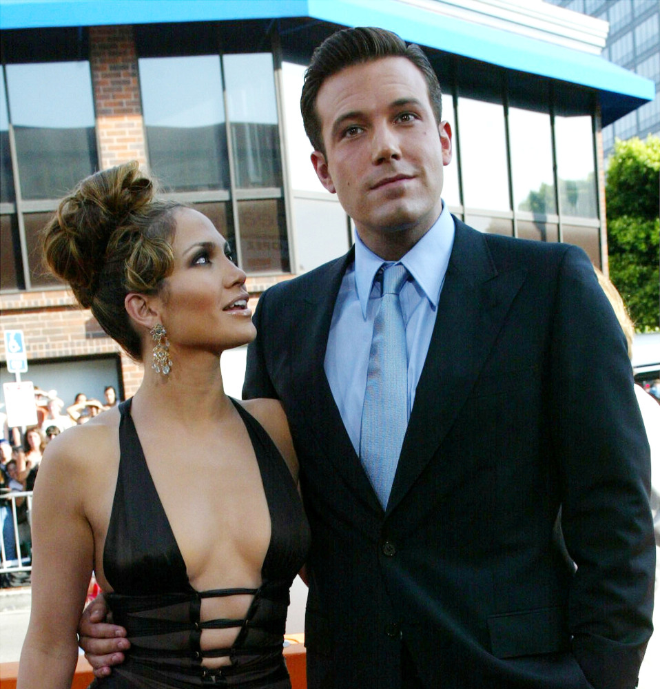 WESTWOOD, CA - JULY 27:  (FILE PHOTO) Actors Ben Affleck and Jennifer Lopez attend the premiere of Revolution Studios' and Co