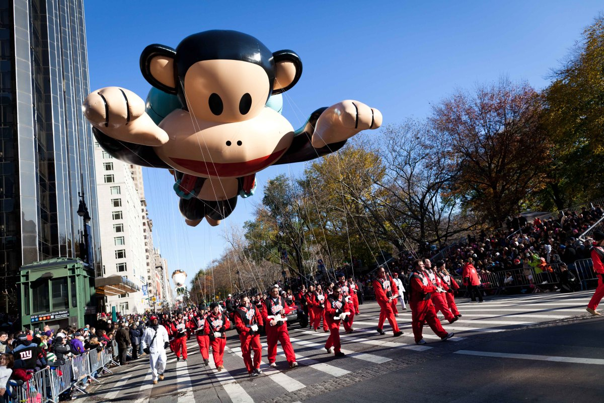 A balloon of cartoonist Paul Frank's Julius heads downtown during Macy's Thanksgiving Day Parade, Thursday, Nov. 24, 2011, in