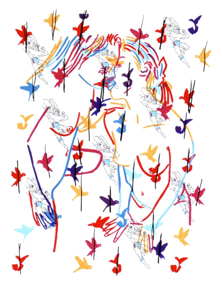 """Superman and the Birds, 2002 by Ghada Amer Print  """"At first glance, Superman and the Birds appears to be a simple pattern"""
