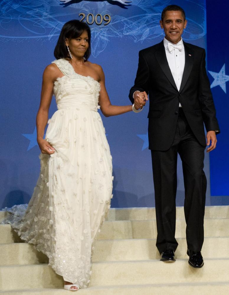 Michelle Obama wore a one-shoulder custom gown from Chinese-born designer Jason Wu during the Inaugural Balls. The fashion de