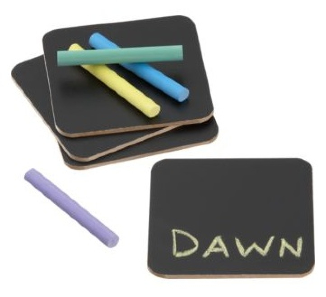"""Four in a set and, well, chock full of fun. <a href=""""http://www.cb2.com/under-$15/gifts/chalk-a-doodle-coasters-set-of-four/f"""