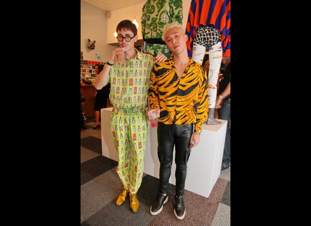 Future New York City boys in colors and busy patterns at the Jeremy Scott pop-up shop at BASE.