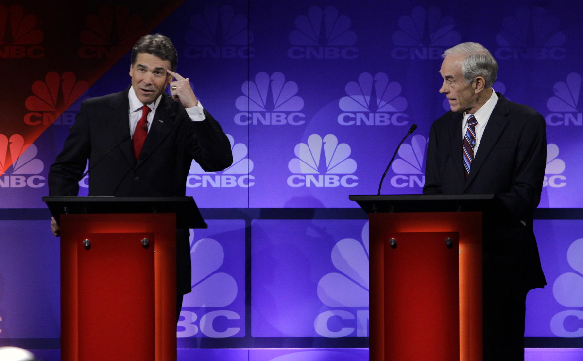 "At the CNBC debate on November 9, Perry <a href=""http://www.huffingtonpost.com/2011/11/10/rick-perry-oops-video_n_1085336.htm"
