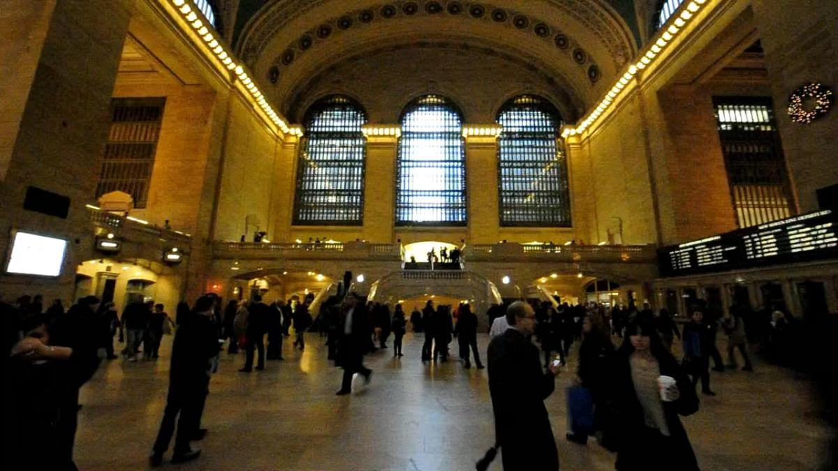 A view of Grand Central train station from the latest Apple store set inside Grand Central Station during a media preview, in