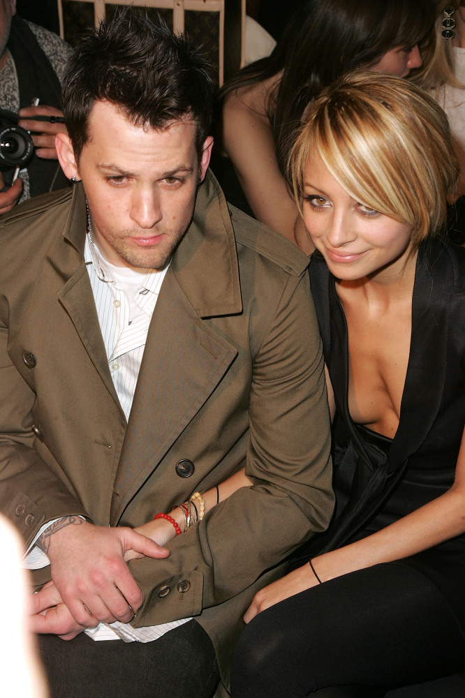 NEW YORK - FEBRUARY 08:  Singer Joel Madden of Good Charlotte and Nicole Richie attend the Zac Posen Fall 2007 fashion show d