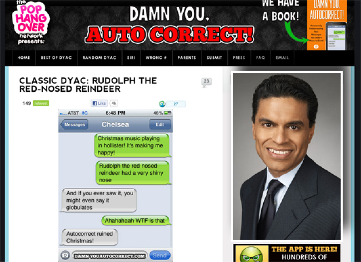 """Fareed Zakaria could do for funny iPhone typos on <a href=""""http://damnyouautocorrect.com"""" target=""""_hplink"""">Damn You, Autocorr"""