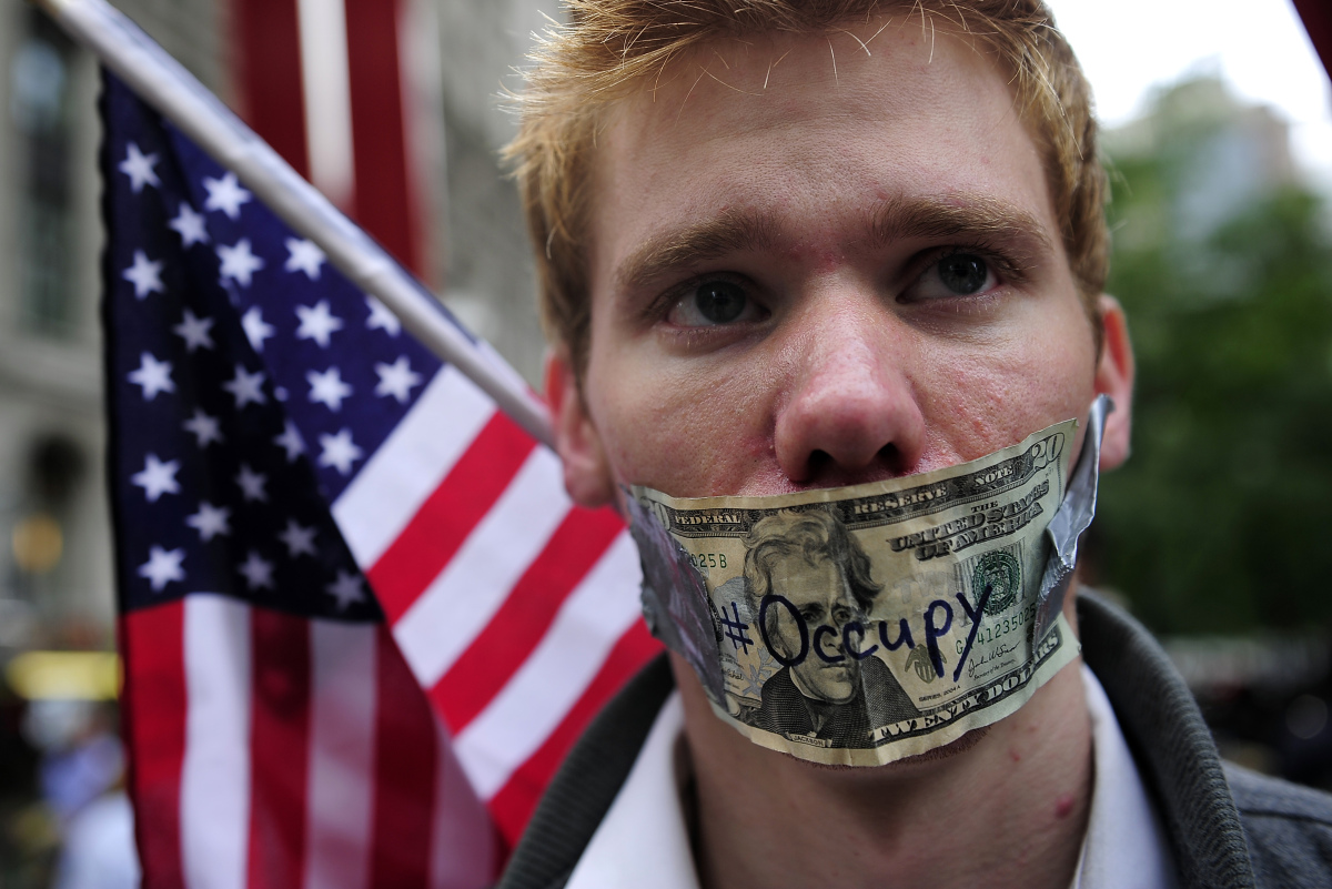 Responding to the call from AdBusters magazine, protesters gathered at noon in New York's financial district on September 17